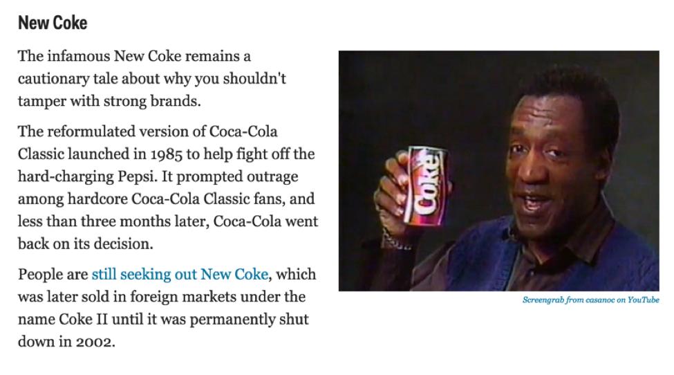 A Coca-Cola já criou vários produtos que não agradaram ao público