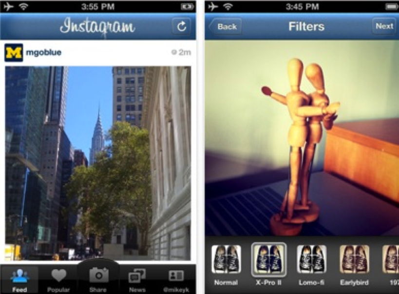 Primeira versão do aplicativo Instagram